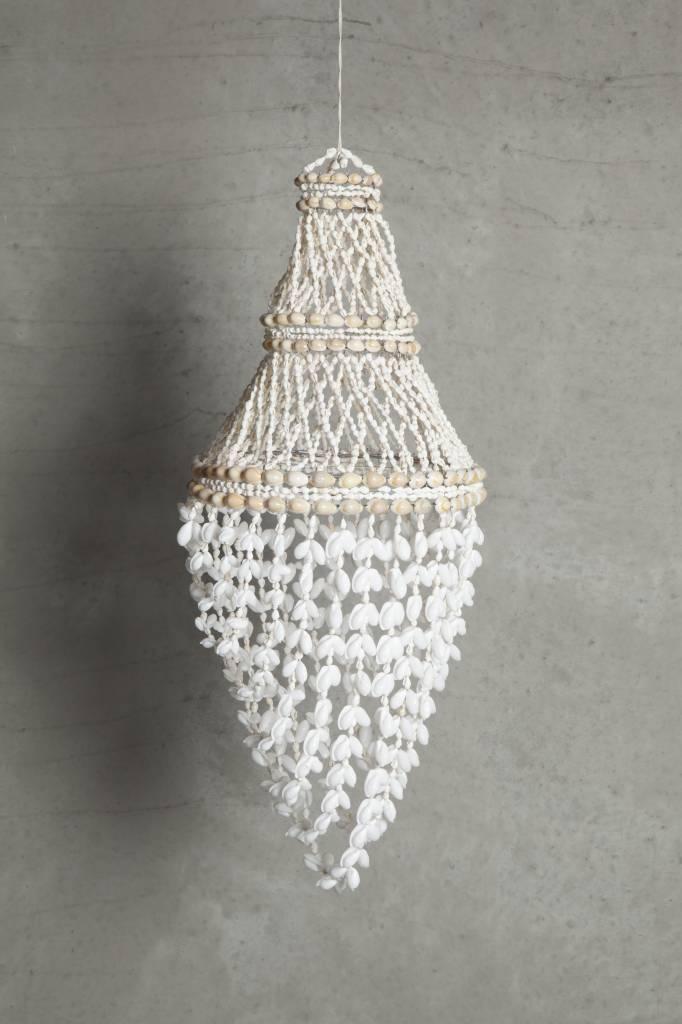 Tinekhome suspension lustre en coquillages ø30x60cm blanc naturel tinek home