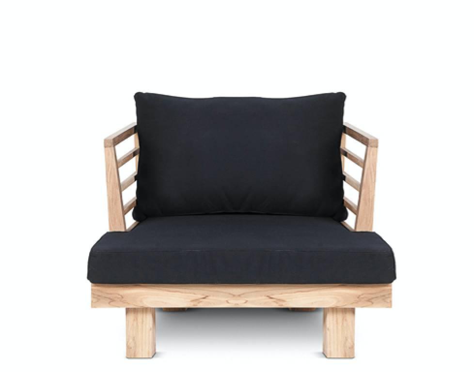 Dareels Black Outdoor Chair U0027STRAUSSu0027   Recycled Teak And Polyester    84x82cm   Dareels ...