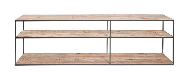 dareels meuble tv onetwo 200 teck naturel y m tal noir 200x37xh63cm dareels petite lily. Black Bedroom Furniture Sets. Home Design Ideas