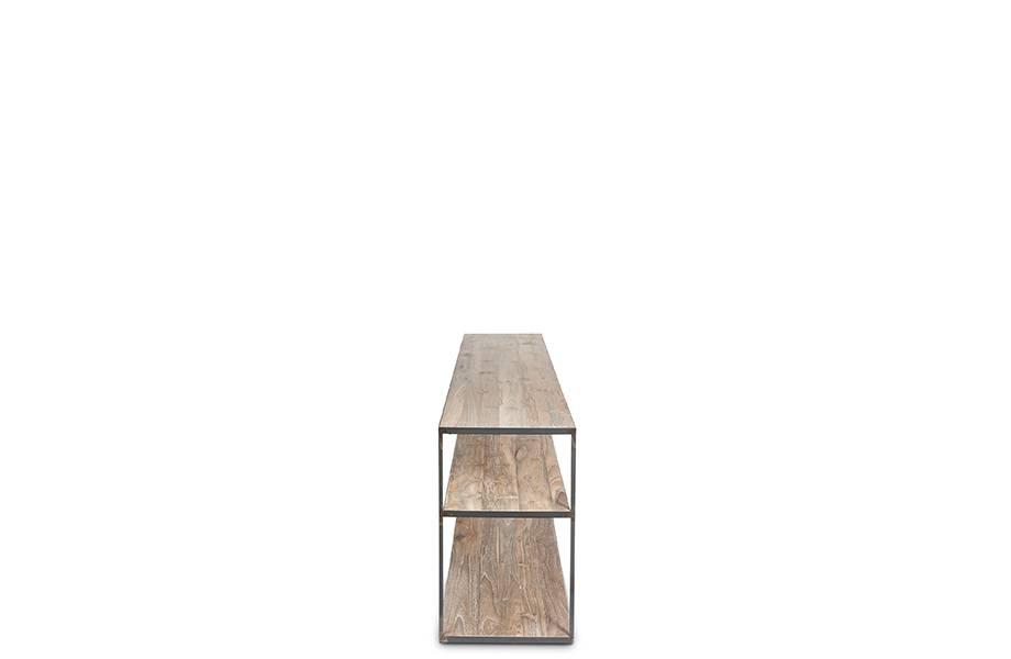 Dareels Librería de diseño ONETWO 200 - teca natural y hierro - 200x37xh63cm - Dareels