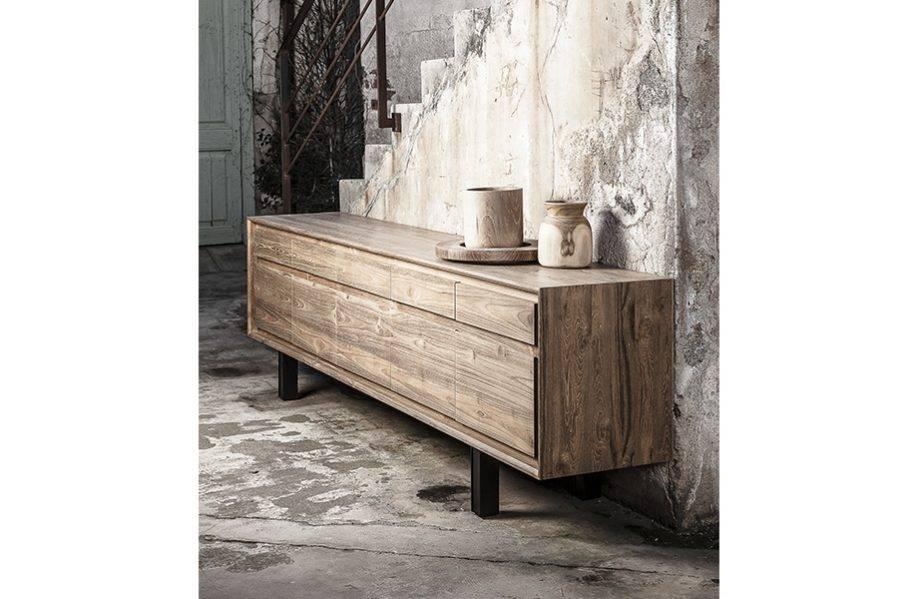 Dareels Sideboard LOX - teak and iron - natural teak / black iron - 257x45xh74cm - Dareels