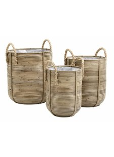 Nordal Set of 3 baskets / rattan flower pots - natural - Nordal