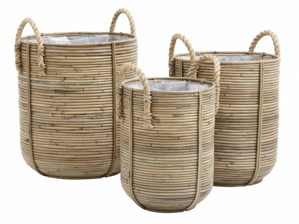 Nordal Conjunto de 3 cestas / macetas de ratán - natural - Nordal