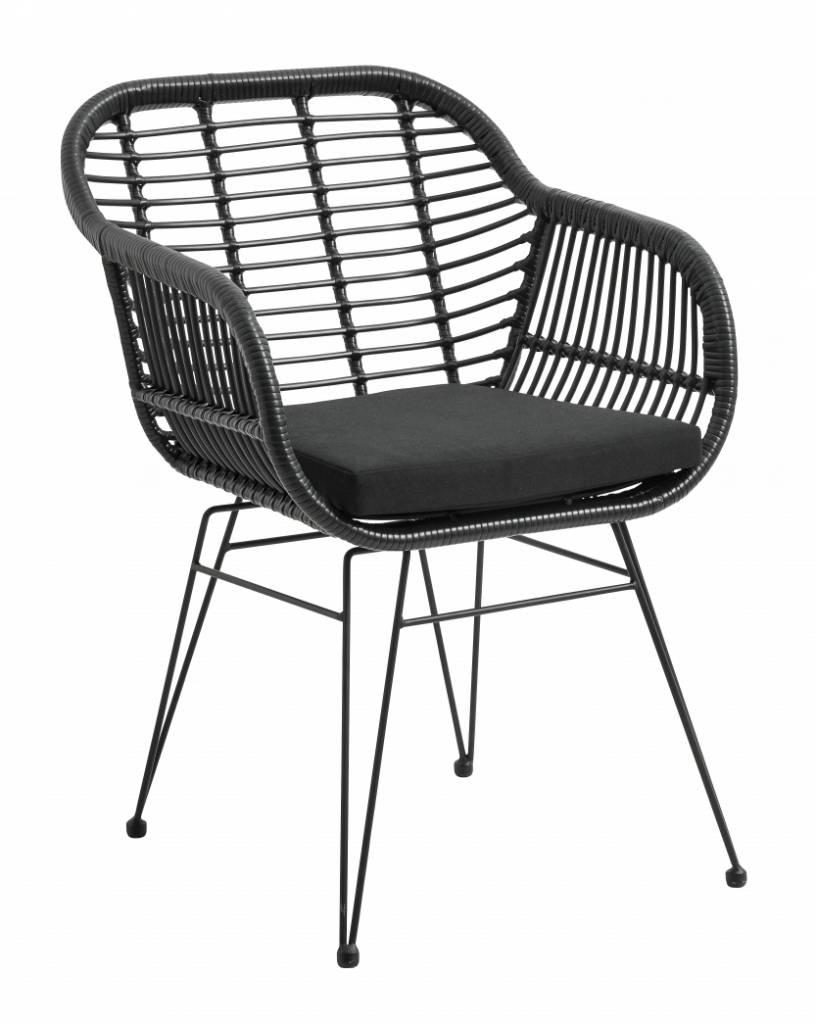 Fauteuil de jardin osier avec coussin d 39 assise noir for Fauteuil osier exterieur