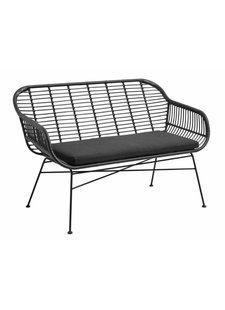 Nordal Banco al aire libre de mimbre con almohada - negro - 126cm - Nordal