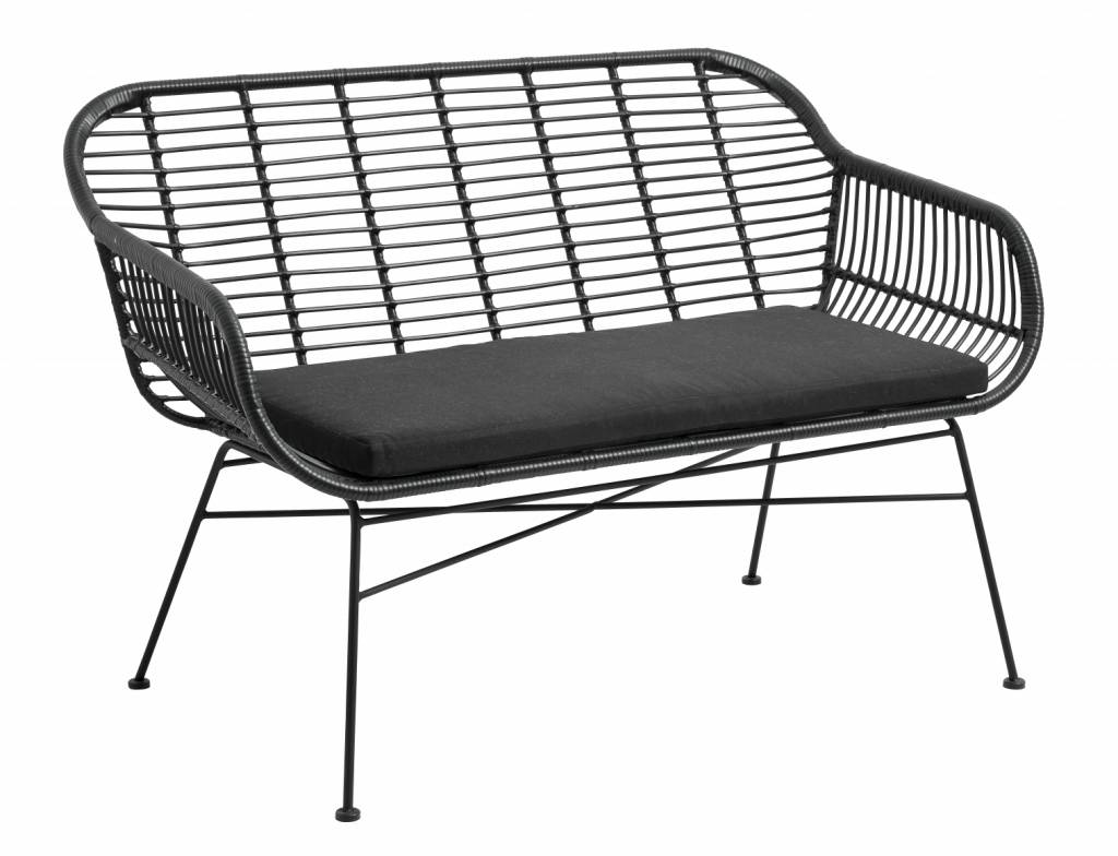 Nordal Black wicker outdoor bench with pillow - 126x76x83cm - Nordal