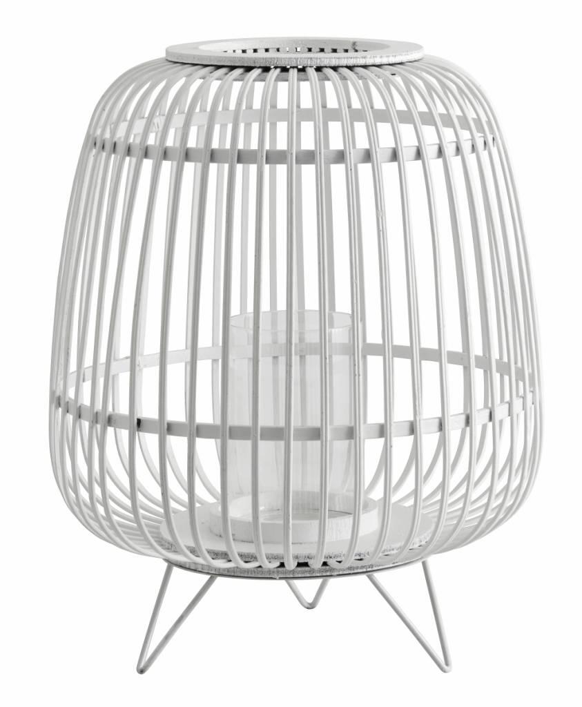 Nordal Linterna de bambu - blanco - Ø36xa45cm - Nordal