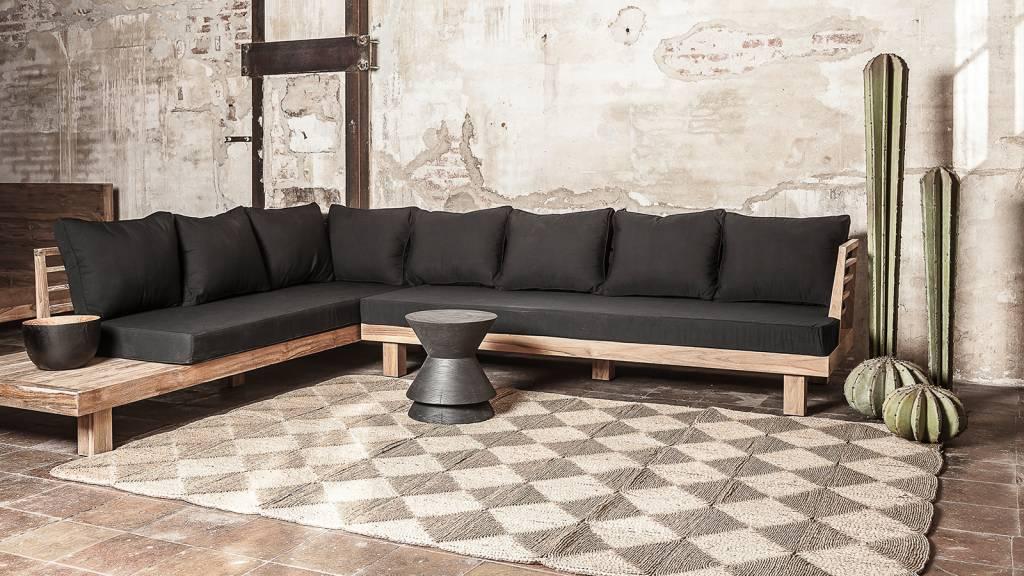 Dareels Sofá de exterior STRAUSS - polyester y teca reciclada - negro  - 300x250cm - Dareels