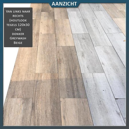 Keramische tegel houtlook Greywash 120x30x2 cm