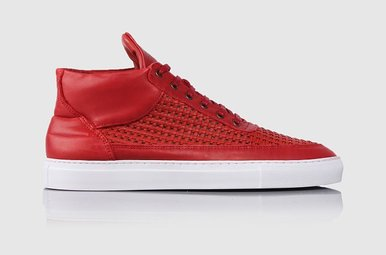 Mid Top Woven Leather Wired Red