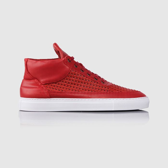 Filling Pieces Mid Top Woven Leather Wired Red