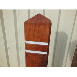 Potelet tête diamant - bois tropical 140 cm 15x15cm