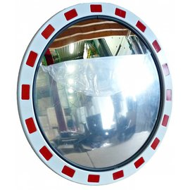 MIROIR TRAFIC DELUXE (Rond) 600 mm - rouge/blanc