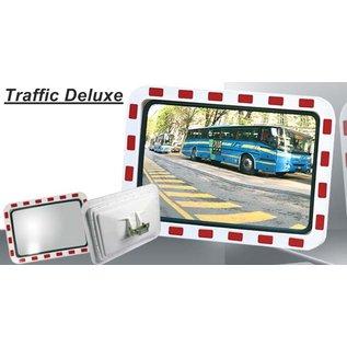 Miroir de sécurité (Rectangle) 800 x 600 mm - rouge/blanc