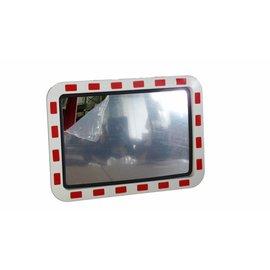 Miroir routier (Rectangle) 600 x 400 mm - rouge/blanc