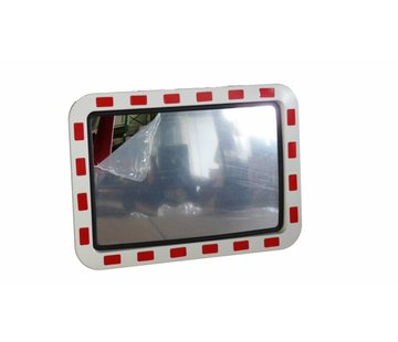 Miroir de sécurité (Rectangle) 600 x 400 mm - rouge/blanc