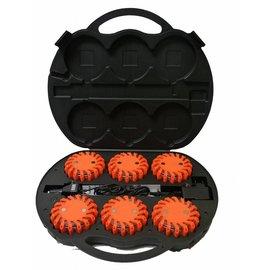 Valise avec 6 lampes (rotor) clignotants / rotatif à LED, Orange, 3,7 V