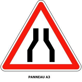 Panneau A3  Chaussée rétrécie