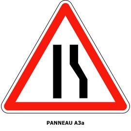 Panneau A3a Chaussée rétrécie par la droite