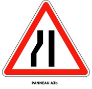 Panneau A3b Chaussée rétrécie par la gauche