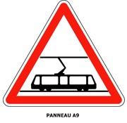 Panneau A9 Traversée de voies de tramway