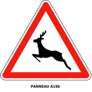 Panneau  A15b Passage d'animaux sauvage