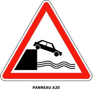 Panneau A20 - Débouché sur un quai ou une berge.