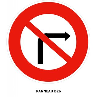Panneau B2b Interdiction de tourner à droite