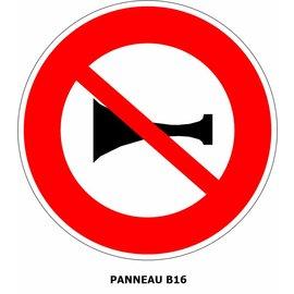 Panneau B16 Interdit l'usage de l'avertisseur sonore