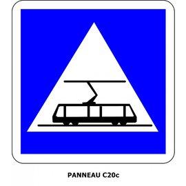 Panneau C20c Traversée de tramway