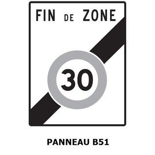 panneau b51 sortie de zone 30 km h must equipement. Black Bedroom Furniture Sets. Home Design Ideas