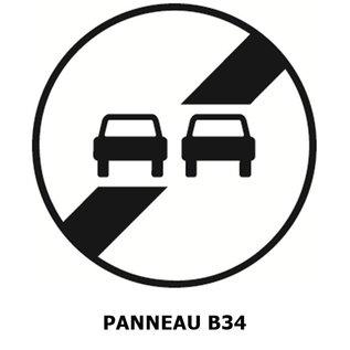 Panneau B34 fin d'interdiction de dépasser