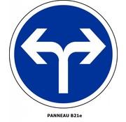 Panneau B21e Obligation de prendre à gauche ou à droite