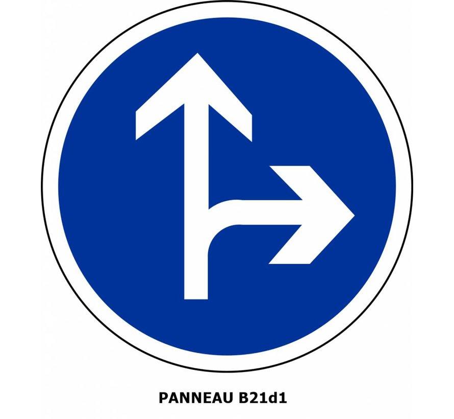 Panneau B21d1 Obligation d'aller à droite ou aller tout droit