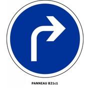 Panneau B21c1 Obligation d'aller à droite