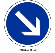 Panneau  B21a1 Obligation de contourner par la droite