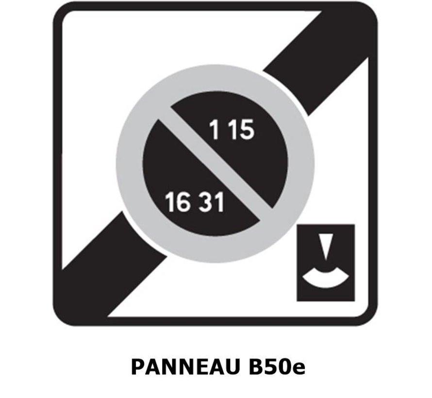 Panneau B50e  Sortie d'une zone à stationnement