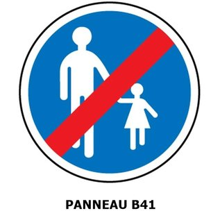 Panneau B41 fin d'un chemin obligatoire pour piétons.