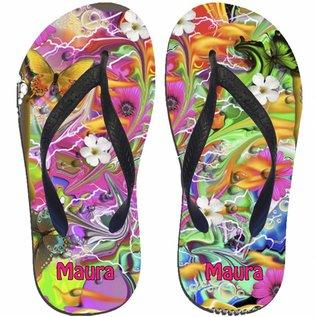 Slippers colorful flower bedrukt met naam