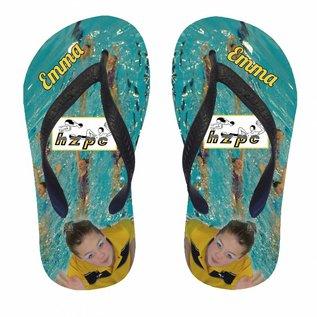 Slippers met het logo van je zwemclub en naam