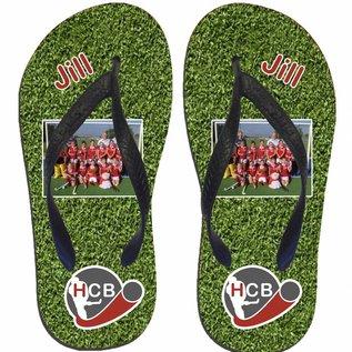Hockey slippers met het logo van je club met foto en naam
