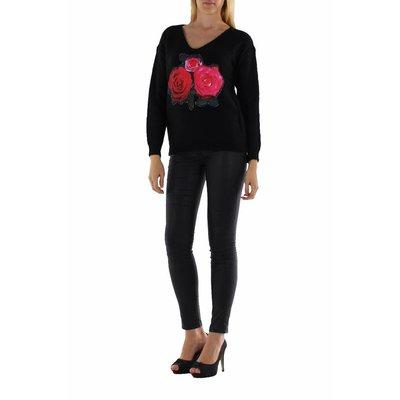 Jovilia Lange gebreide trui met rozen print