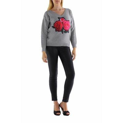 Jovilia Lange gebreide grijze trui met rozen print