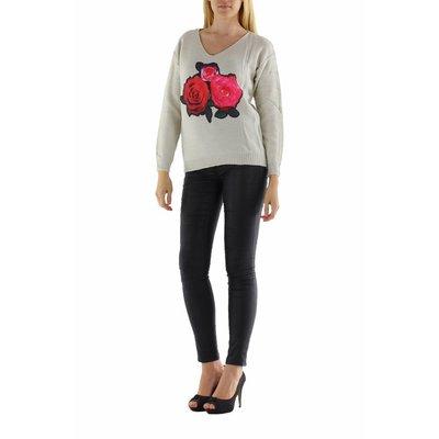Jovilia Lange gebreide beige trui met rozen print