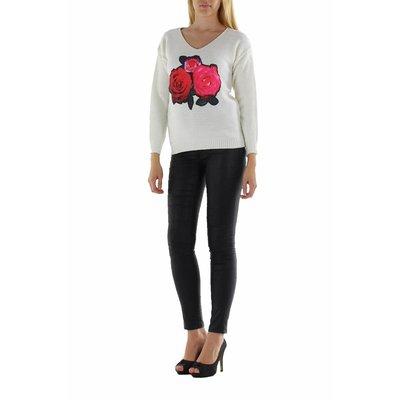Jovilia Lange gebreide witte trui met rozen print