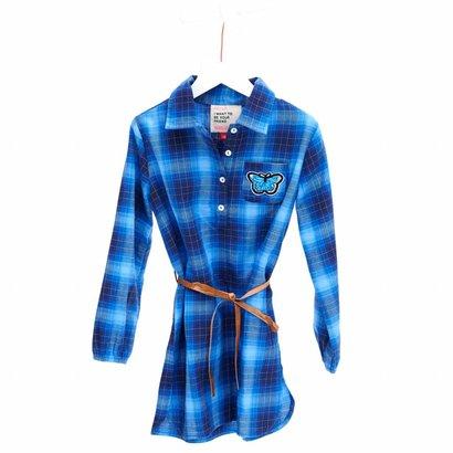 Mim-Pi Blauweoverhemd jurk met lange mouwen Mim-Pi