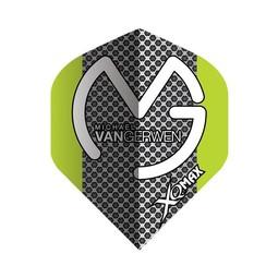 XQ-Max Darts Michael van Gerwen green-grey black dots flight