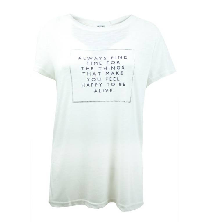 Fashion Mania Top happy to be alive - Creme