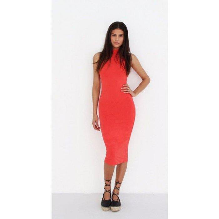 Jurk Long Striped Tube Dress Coral