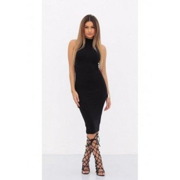 Jurk Long Striped Tube Dress Black